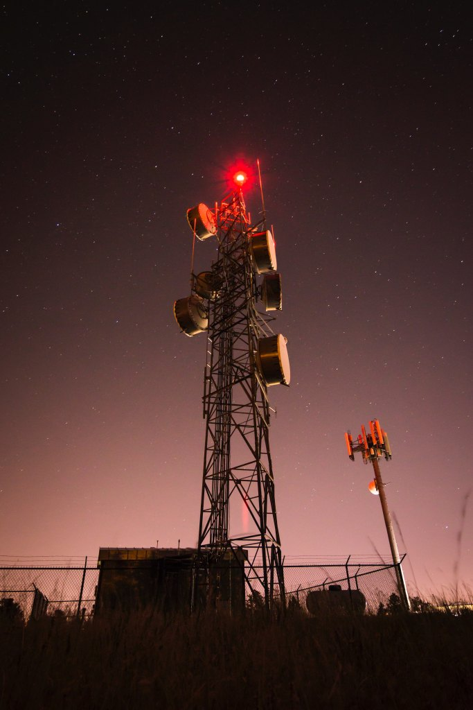 radio tower with red light