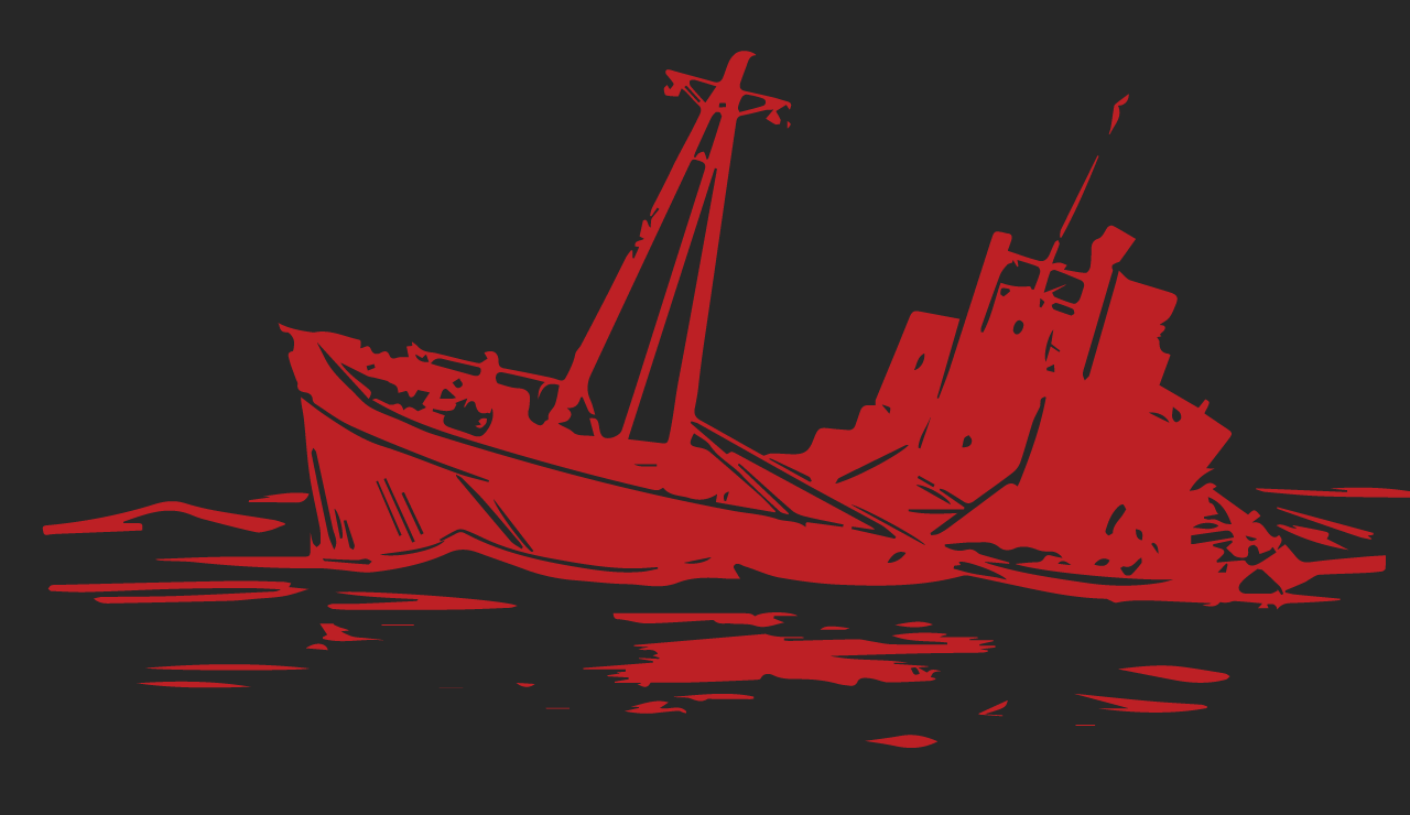 Mission banner: a large ship half-sunken in rough waves