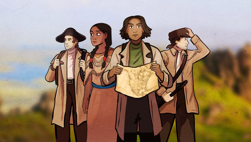 Lewis & Clark banner: Lewis and Clark standing at the back, with Sacagawea and a traveller in front. The traveller is holding an antique map. They stand against a rocky landscape.