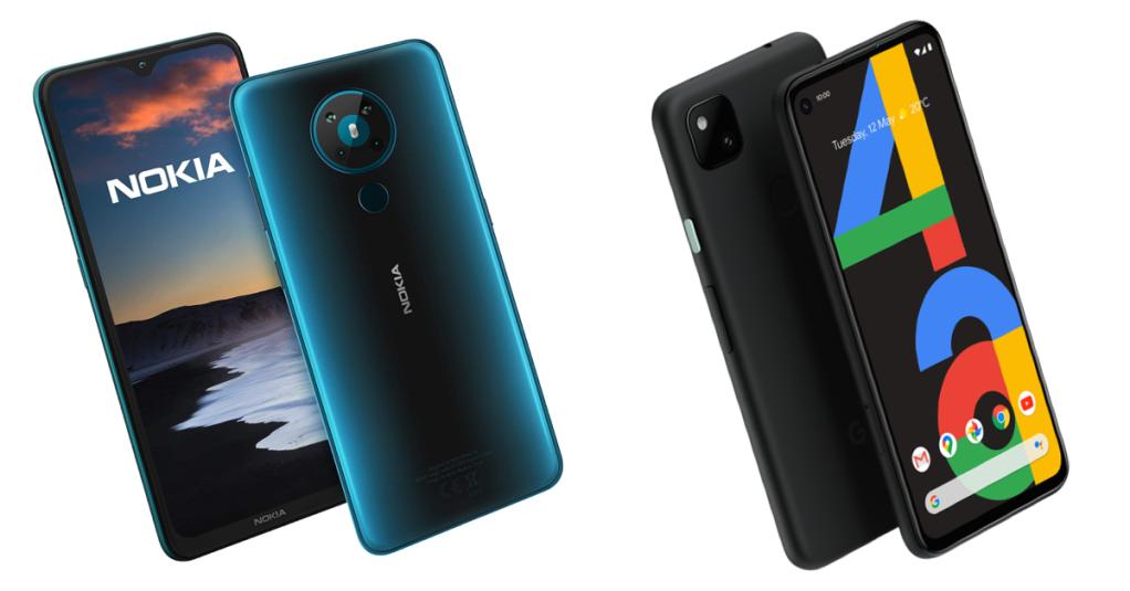 Nokia 5.3 and Google Pixel 4a