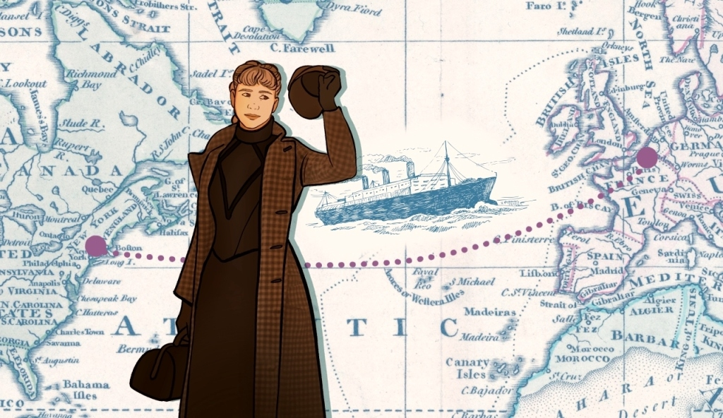 Nellie Bly waving on top of a map showing her route from New York to London