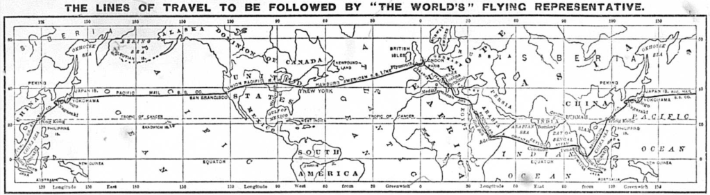 "A map of Nellie's route around the world, the the title ""The lines of travel to be followed by 'the world's' flying representation."""