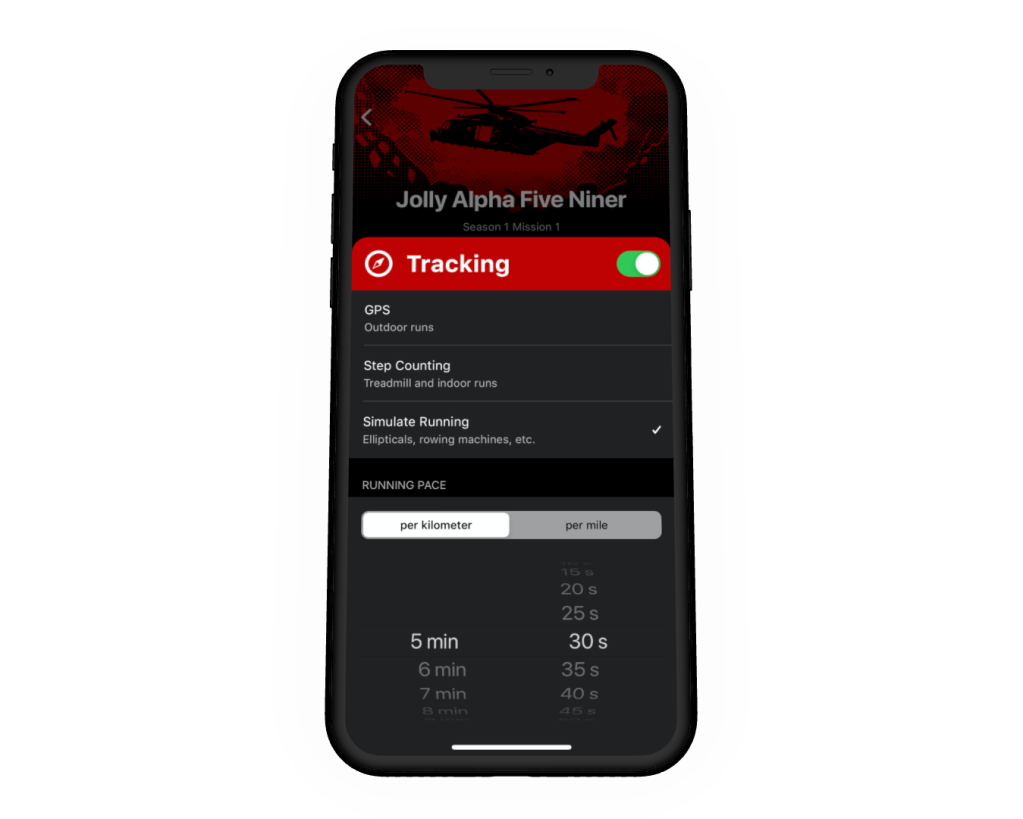 Screenshot of the Tracking Settings in Zombies Run!