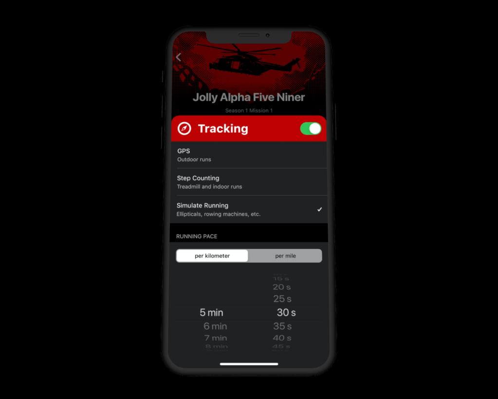 Screenshot of the Tracking Settings in Zombies Run!