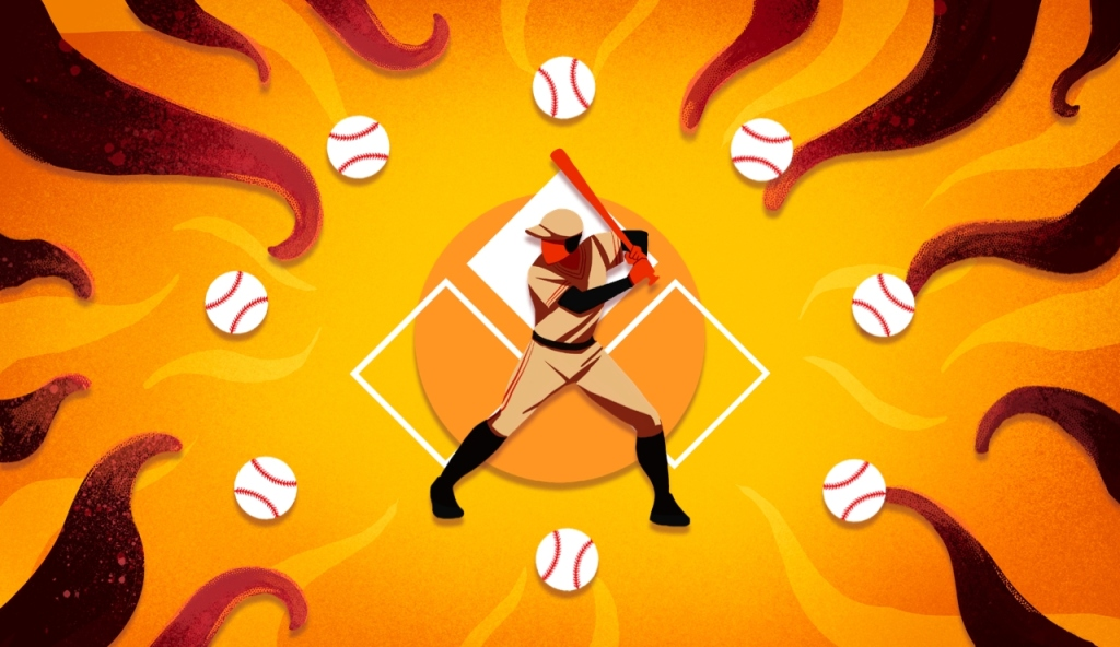 A figure playing baseball and surrounded by tentacles