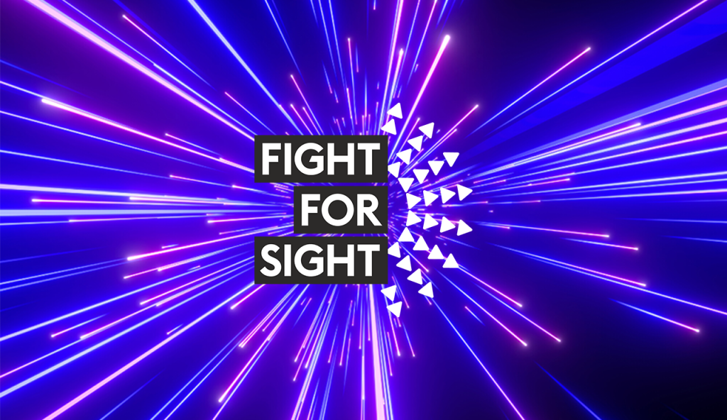 A graphic with neon purple and the words Fight for Sight