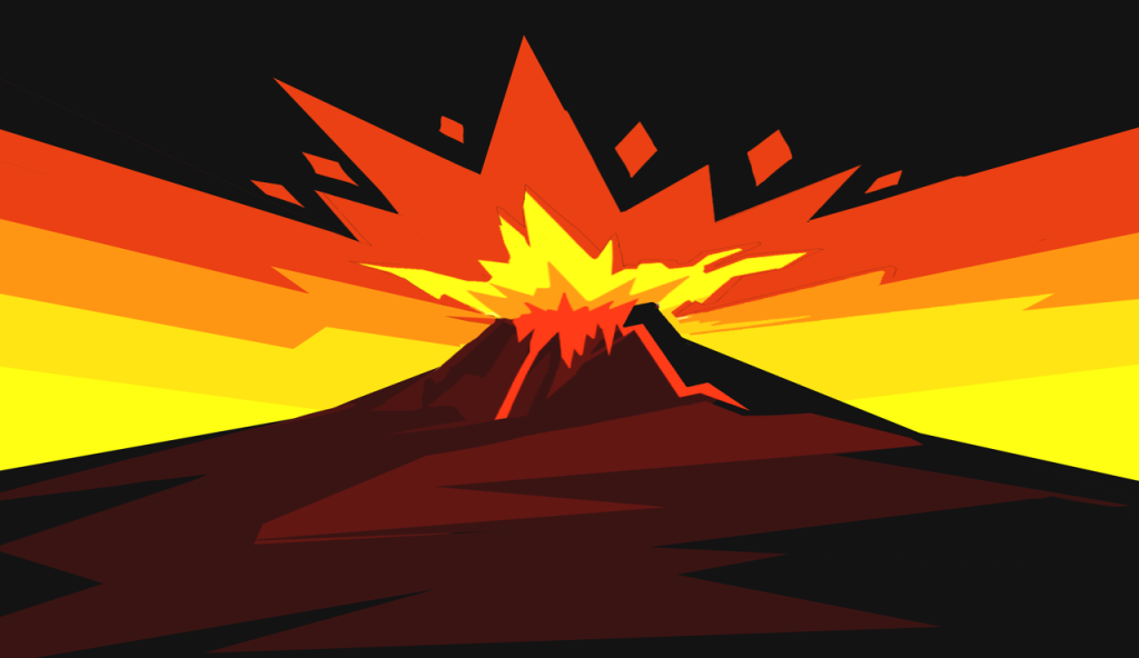 A graphic of a volcanic eruption
