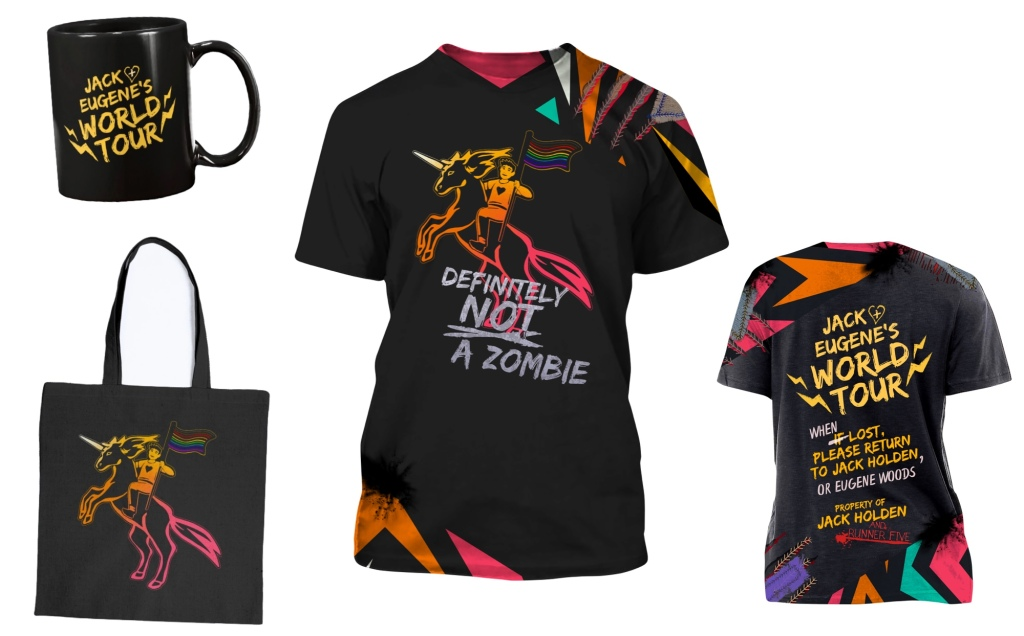 Jack and Eugene's World Tour shortsleeve shirt front and back, mug, and unicorn tote